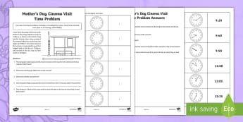 Mother's Day Cinema Visit Time Problem Activity Sheet - Mother's Day Maths, maths, mother, mother's day, mum, time, arrival time, departure time, time tak