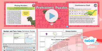 PlanIt Maths Y1 Number and Place Value Lesson Pack One More and One Less to 100 Lesson Pack - Dinosaurs, Finding More, Finding Less, Identify More And Less, 1 More, 1 Less, prehistoric, year 1,