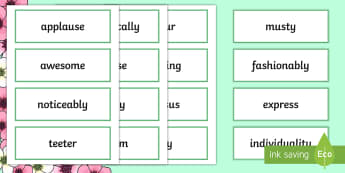 Year 3 Spring 1 Word Of The Day Display Word Cards - vocabulary, nouns, adjectives, adverbs, verbs, multisyllabic, language, spelling