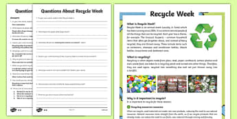 KS2 Recycle Week Differentiated Reading Comprehension Activity