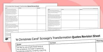 A Christmas Carol Quotes Revision Sheet Scrooge's Transformation - a christmas carol, quotes, revision
