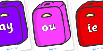 Phase 5 Phonemes on Suitcases - Phonemes, phoneme, Phase 5, Phase five, Foundation, Literacy, Letters and Sounds, DfES, display
