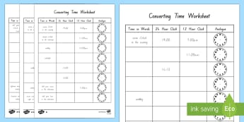Converting Time Activity Sheet - New Zealand, Time, Measurement, Converting Time, 24 hour, 12 hour, analogue
