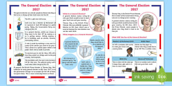 KS1 General Election Differentiated Fact File - Reading, comprehension, explain clearly their understanding of what is read to them, understand what