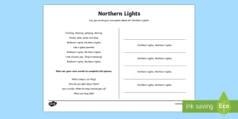 Northern Lights Poem Worksheet / Activity Sheet - CfE, polar lands, aurora borealis, arctic, space, writing, poetry