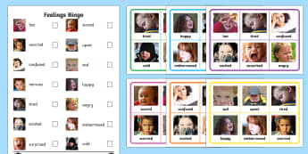 Feelings Photo Bingo - Feelings Bingo - feelings, bingo, activity, game, class, play, feelins, fellings