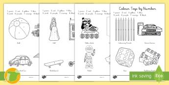 A1 Colorear con números: Juguetes Inglés - toys, juegos, games, colouring, pintar, colores,Spanish translation