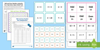 Year 4 Odd and Even Number Resource Pack - ACMNA071, odd, even, odd and even, odd numbers, even numbers, odd and even number investigation, num