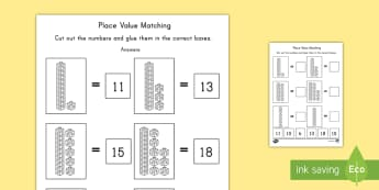 Place Value Tens and Units Cut and Paste Activity Sheet - activity, worksheet, cut and paste, math, place value, tens,