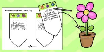 Plant Label Template - plants, labels, templates, leaves, leaf