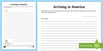 Diary Writing Worksheet / Activity Sheet - New York, Ellis Island, Immigrant, Immigration, Diary, America, non-fiction, writing, ELA,