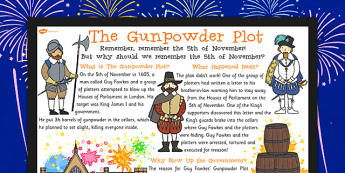 The Gunpowder Plot Large Information Poster KS2 - gunpowder, plot