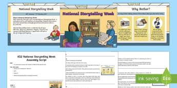 KS2 National Storytelling Week Assembly Pack - KS2 National Storytelling Week Assembly pack, KS2 events assembly pack, stories, storytelling, liste