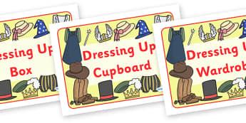 Dressing Up Box Labels - dressing up, label, box, sign, A4, display, dressing up box, labels, school labels