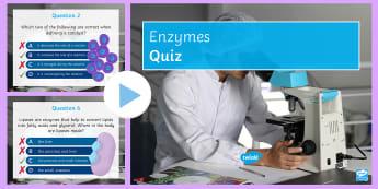 Enzymes Quick Quiz - amylase, catalysts, optimum temperature, active sites, proteases