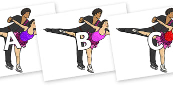 A-Z Alphabet on Figure Skating - A-Z, A4, display, Alphabet frieze, Display letters, Letter posters, A-Z letters, Alphabet flashcards