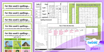 PlanIt Y3 Term 2A Bumper Spelling Pack - Spellings Year 3, Y3, SPaG, GPS, spelling, bumper, half term, spring term, assess, review, lists, we