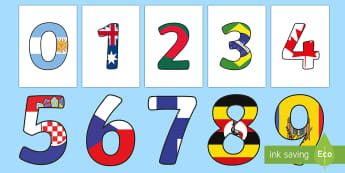 World Flag Display Numbers - World Flag Display Numbers - numbers,, displays, flags, poster, displaynumbers, display, glags, flag