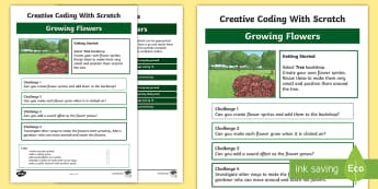 Growing Flowers Scratch Activity Sheet - worksheet, computing, programming, coding, algorithms, instructions, commands, Scratch