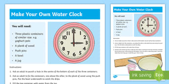 Make a Water Clock Step-by-Step Instructions-Irish - water clock, time, measures, instructions, step by step,Irish