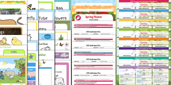 EYFS Spring-Themed Bumper Planning and Resource Pack for 2-5 Year Olds - seasons, season, new life, chick, frog, life cycle, planting, plants, seeds, blossom,