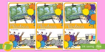 Separadores de álbumes: Plástica - álbum, fin de curso, dividir, tapa de álbumes, tapas, asignaturas, trimestre,Spanish