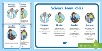 Science Team Roles Display Posters - Science team, cooperative learning, science groups, science behaviour, science safety, primary conne