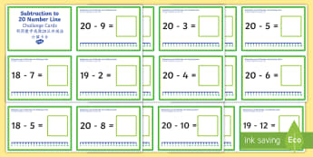 Subtraction up to 20 with a Number line Challenge Cards - Mandarin Chinese Translation - Subtraction Up to 20 with a Number Line Challenge Cards - subtraction, up to 20, number line, challe