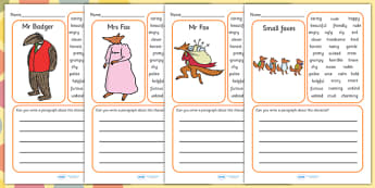 Description Writing Frame to Support Teaching on Fantastic Mr Fox - Fantastic Mr Fox, fantastic mr fox writing frame, writing frames, roald dahl writing frames