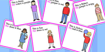 Possessive Pronouns His And Hers Cut Out Cards - pronoun, SEN
