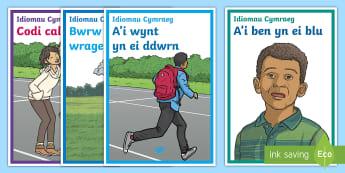 Posteri Idiomau Cymraeg - idiom, iaith, llythrennedd, arddangosfa, Welsh idioms