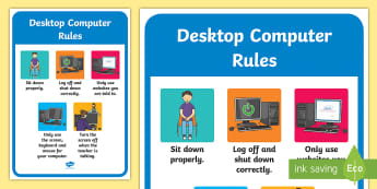 Desktop Computer Rules Display Poster - ipad rules, tablet, display poster, ipad poster, poster for ipad rules, rules posrer, poster to disp