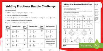 LKS2 Adding Fractions Christmas Dice Game - Numerator, Denominator, Proper, reasoning, consolidate, apply, addition, problem solving