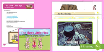The Three Little Pigs Storytelling Basket - EYFS, story, reading, literacy, books, reading area, reading buddies, story props