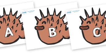 A-Z Alphabet on Puffer Fish - A-Z, A4, display, Alphabet frieze, Display letters, Letter posters, A-Z letters, Alphabet flashcards