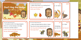 Don't Hog the Hedge! Year 2 Reasoning Differentiated Challenge Cards - Twinkl Originals, Fiction, Autumn, Hibernate, Woodland, Animals, Year 2 Problem solving, Calculation