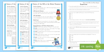 History of the USA at the Winter Olympics Differentiated Reading Comprehension Activity - Winter Olympics, Olympics, USA Winter Olympics, USA olympics, Reading Comprehension, differentiated