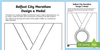 Belfast City Marathon 2018 Design a Medal Activity Sheet - Northern, Ireland,  Finisher, Winner, art, ribbon