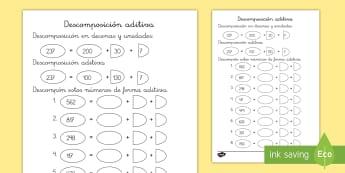 Ficha de actividad: Descomposición aditiva - descomposición, descomponer, números, numérica, valor poscicional, descompón, aditiva, mates, ma