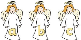 A-Z Alphabet on Angels -  Christmas, xmas, angel, advent, nativity, santa, father christmas, Jesus, tree, stocking, present, activity, cracker, angel, snowman, advent , bauble, A-Z,  Alphabet frieze, Display letters, Letter posters, A-Z letters, Alph