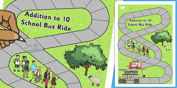 Addition to 10 Bus Board Game - adding, games, maths, numeracy