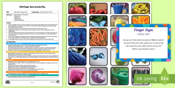 EYFS Colour Sorting Treasury Tag Finger Gym Plan and Resource Pack - EYFS Sorting, mathematics, shape space measure, beginning to categorise objects according to propert