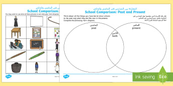 Comparing Schools Past and Present Sorting Activity Sheet Arabic/English - Old, Victorian, Teaching, History, Now and Then, worksheet EAL Arabic,Arabic-translation