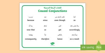 Causal Conjunctions Word Mat Arabic/English - casual conjunctions, word mats, word, cards, conjunctions, EAL, Arabic.,Arabic-translation