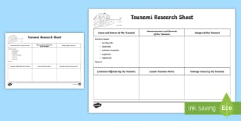 Tsunamis Research Writing Activity Sheet - tsunami, tidal waves, ACSSU096, year 6 science, grade 6 science,  geological events, earthquakes, ge