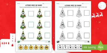 Așază globurile cu litere pe brăduț Activitate - craciun, litere, consolidare litrere, vocale, litere mici, litere mari,Romanian