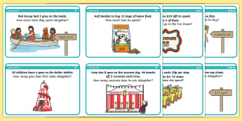 Class Trip Multiplication Differentiated Activity Sheets - Multiplication and Division, problem solving, word problems, deepening understanding, representing,