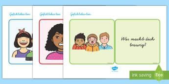 Gefühlskarten Aktivität - Gefühle, Emotionen, Karten, Sprechen, Kommunikation,,German-translation