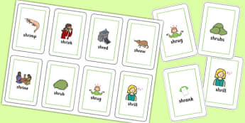 SHR Flash Cards - speech sounds, phonology, articulation, speech therapy, cluster reduction