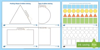 Packing Shapes Problem Solving Game - Beginning to talk about the shapes of everyday objects, e.g. 'round' and 'tall'., mathematic